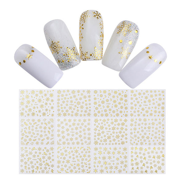 1 Big Sheet Christmas Snowflake 3D Nail Sticker Santa Claus Deer Pattern Adhesive Transfer Sticker Manicure Nail Art Decals