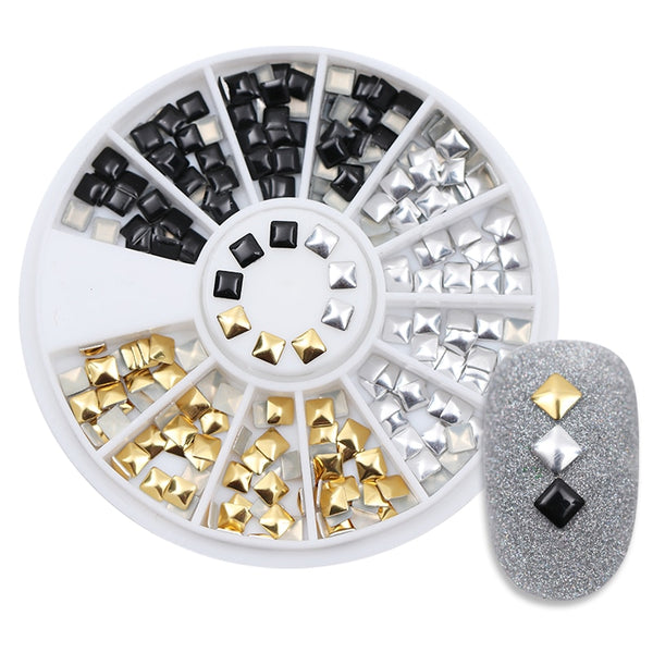1 Box Square Rivet Nail Studs Flat Bottom Gold Silver Black Decoration In Wheel 3mm Manicure 3D Nail Art Decoration