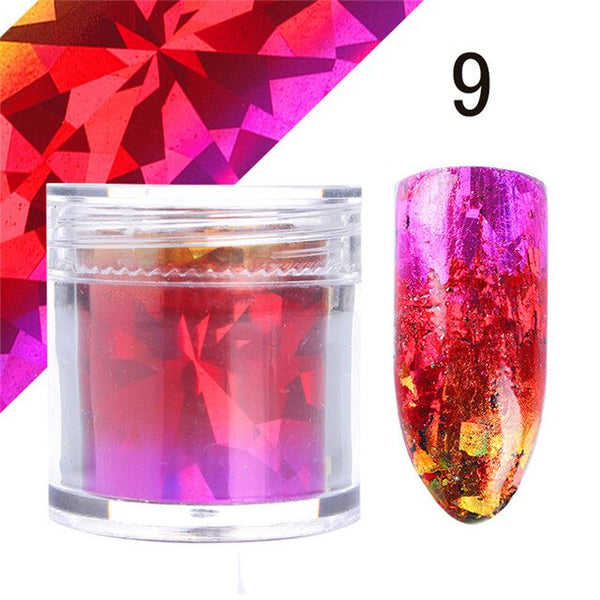 1 Roll Gradient Starry Nail Foil Paper Red Pink Gold Nail Transfer Stickers Manicure Accessories Nail Art Decorations 2.5*120cm