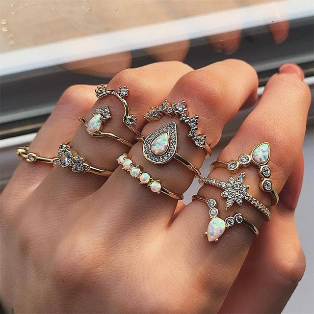 10 Pcs/set Bohemian Retro Water Drops Star Crown Crystal Gold Ring Women