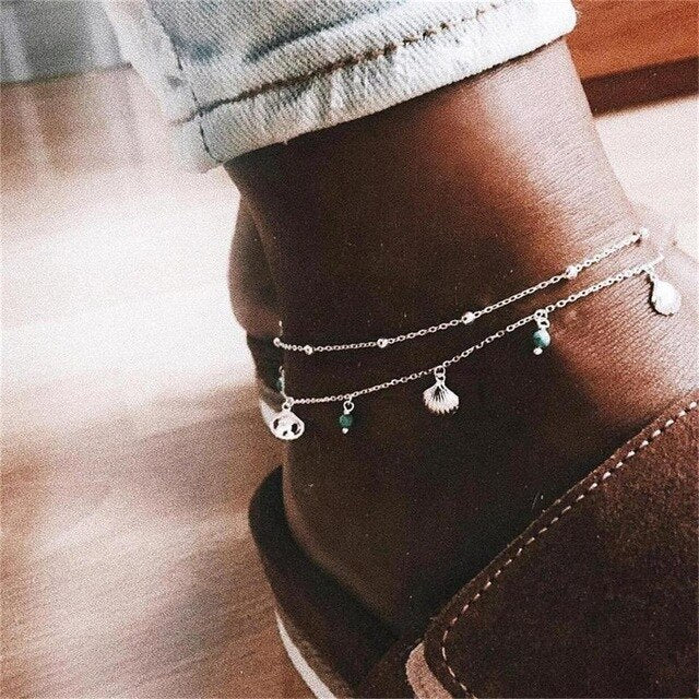 2 Pcs/set Women's Anklet Set Bohemian Temperament Jewelry