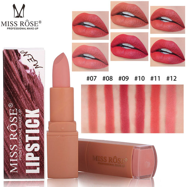 Fashion Easy to Wear Lipstick Matt Natural Waterproof Long Lasting Lip Cosmetic Beauty Makeup Lipstick For all skin types