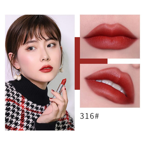 New Fashion Waterproof Lipstick Matte Pumpkin Color Lipstick Eat Earth Rich Vitamin E Moistu Maquiagem Drop Shipping