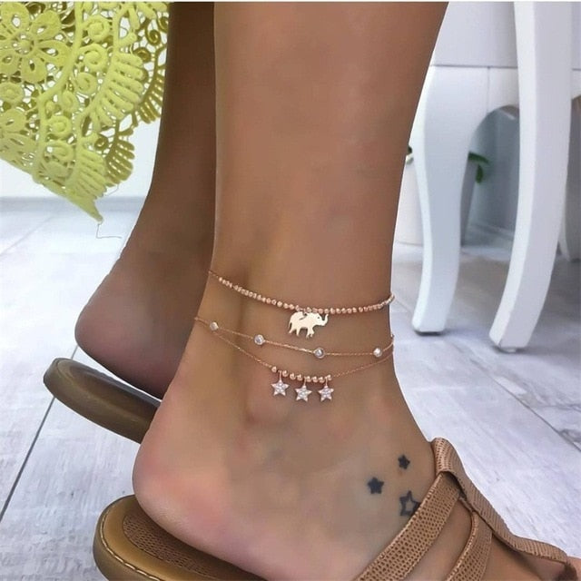 3 Pcs/ Set Anklet Fashion Multilayer Gold Anklet Set Combination