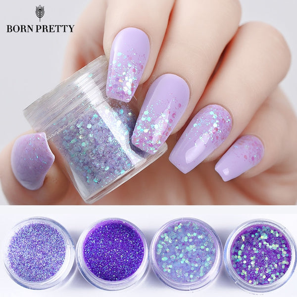 4 Boxes Purple Nail Glitter Set Multi-size Violet Series Sequins Powder Manicure Nail Art Decorations Kit