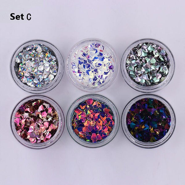 6 Boxes Chameleon AB Color Nail Sequins Set Rhombus Colorful Flakes Glitter Paillette Manicure Nail Art Decorations