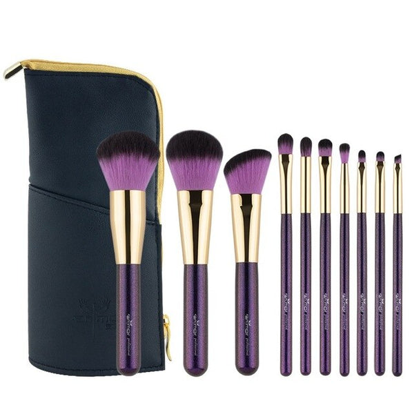 10 PCS Travel-friendly Makeup Brushes Purple Colored Make Up Brushes