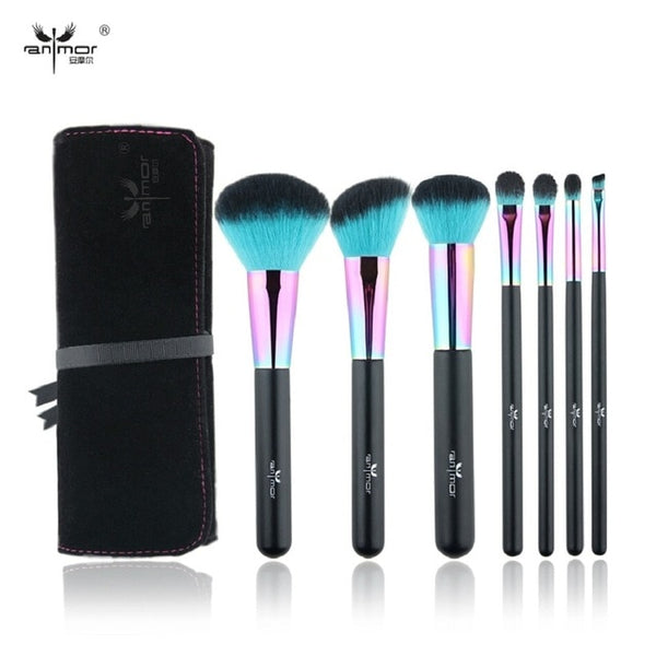 HOT 7PCS Rainbow Makeup Brushes Professional Brushes with Cosmetics Bag