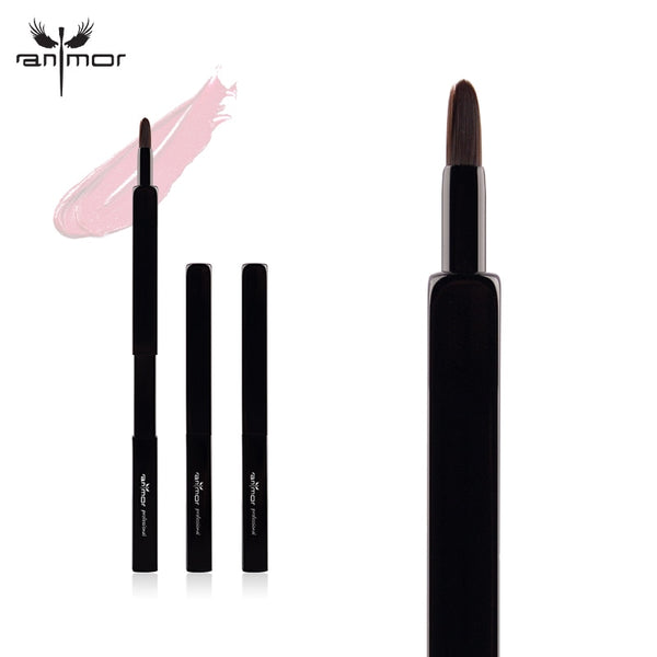 Anmor Retractable Lip Brushes Professional Makeup Brushes Portable Brushes for Lip Gross and Lip Stick Makeup Black Color