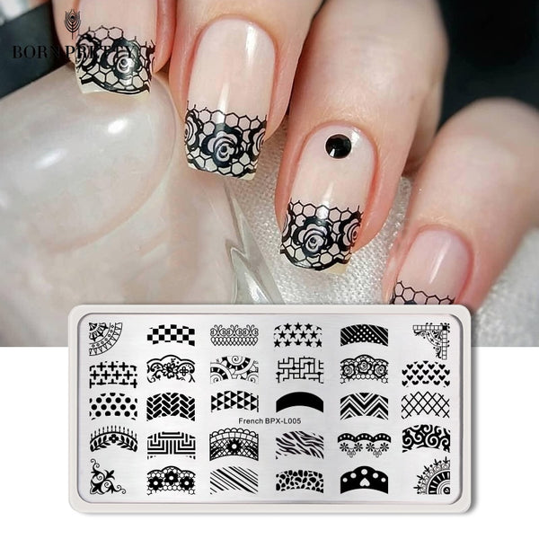 BORN PRETTY French Rectangle Nail Art  Stamping Template 12*6cm Manicure Nail Art Image Plate BPX-L005