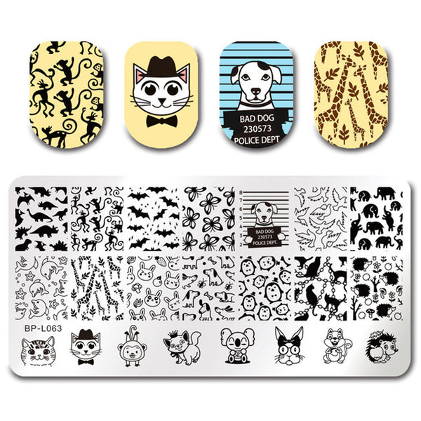 BORN PRETTY Geometrical Nail Stamping Template London Style Fashion Girl Rectangle Plate Manicure Nail Art Image Plate