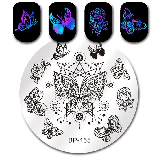 BORN PRETTY Nail Stamping Plate Feather Makeup Lipstick Star Poker Cards Round Stencil Manicure Nail Art Image Plate