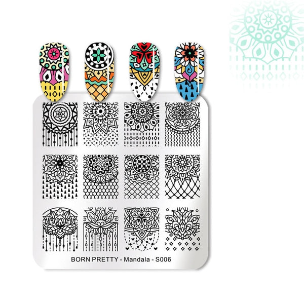 BORN PRETTY Nail Stamping Plates Stainless Steel Floral Dot Square Manicure Nail Art Image Template Mandala Series Design