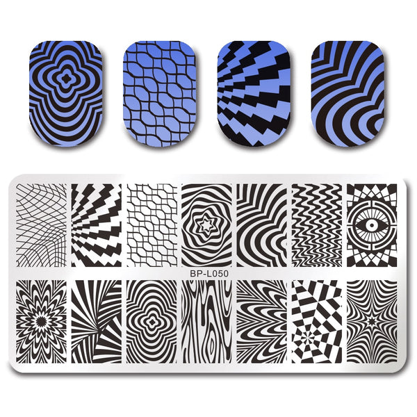 BORN PRETTY Rectangle Nail Stamping Template Wave Net Design 12*6cm Manicure Nail Art Image Plate BP-L050