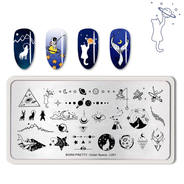 BORN PRETTY Space Series Nail Stamping Plates Moon Star Rectangle Nail Art Template Manicure Stencil Tools Outer