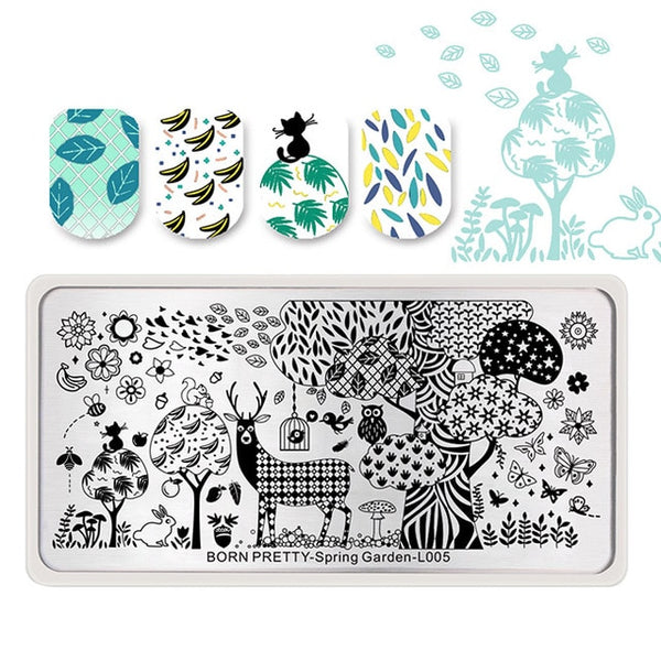 BORN PRETTY Spring Garden Series Nail Stamping Plate Flower Leaf Template Rectangle Nail Art Image Plate