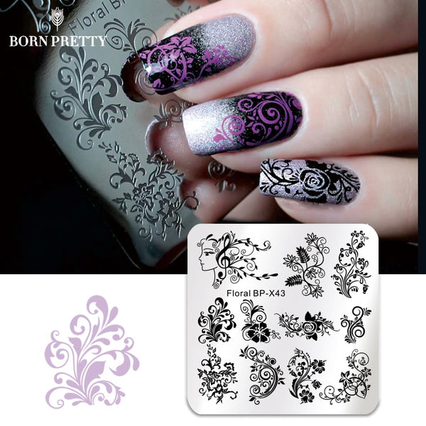 BORN PRETTY Square Nail Art Stamp Floral Rose Template Fruit Gorgeous Flower Vine Leaves Manicure Nail Art Image Plate