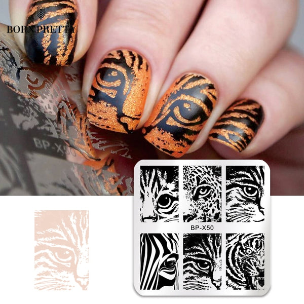 BORN PRETTY Square Nail Stamping Plate Geometry Stripes Cat Nail Eye Coffee Pumpkin Manicure Nail Art Image Plate Stencil