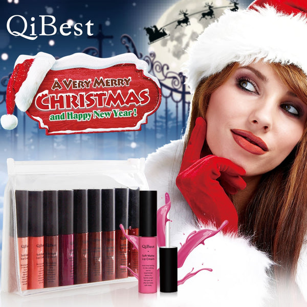 Elegant Lip Gloss 1PC 9 Colors Christmas Waterproof Matte Luminous Shimmer Liquid Long Lasting Lipstick Lip Gloss For All People