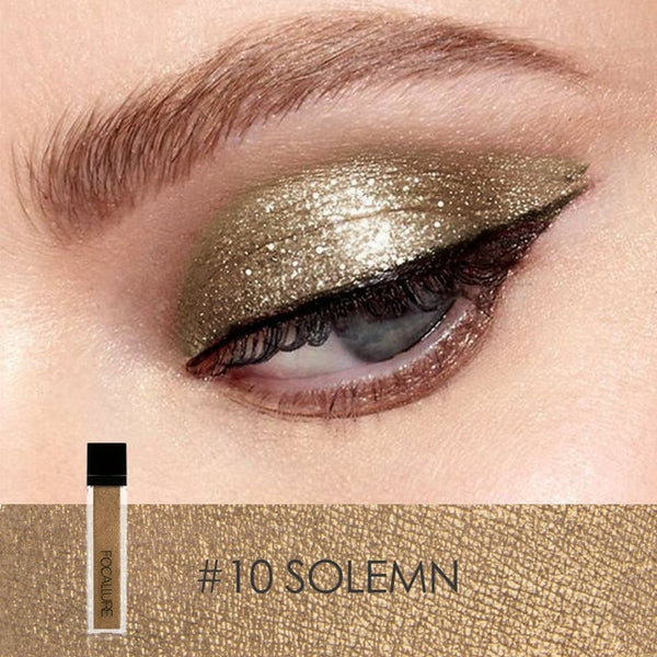 FOCALLURE 10 Colors Waterproof Glitter Shimmer Pigment Makeup Liquid Eye Shadow