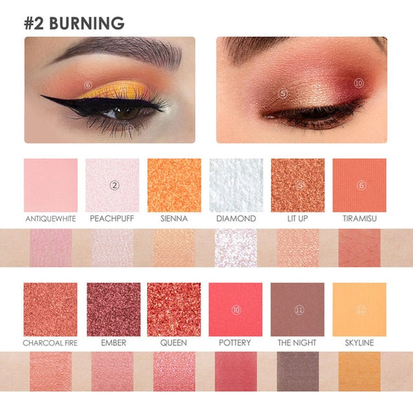 FOCALLURE 12 Colors Eyeshadow High Quality Smooth Soft Shimmer Glitter Palette Eyeshadow