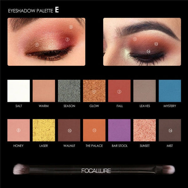 FOCALLURE 14 Colors Eye Shadow Palette Matte Glitter High Pigment Hot in ins Palette Eyeshadow with Brush Eyes Makeup Eyeshadow