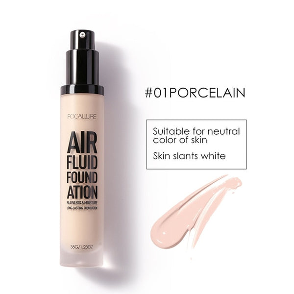 FOCALLURE 2018 New AIR FLUID FOUNDATION Moisturizing Natural Foundation Base Long Lasting Waterproof Women Makeup