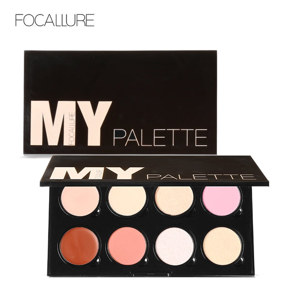 FOCALLURE Big 8 Colors DIY Design Face Bronzer Pressed Blush Paltter with Highlither Face Powder Brighten Cosmetics