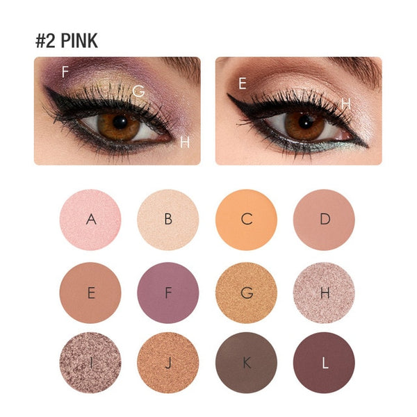 FOCALLURE Eyeshadow 12 Colors Matte Shimmer Glitter Easy to Wear Eye Shadow Palette Maquiagem Profissional Completa Make Up