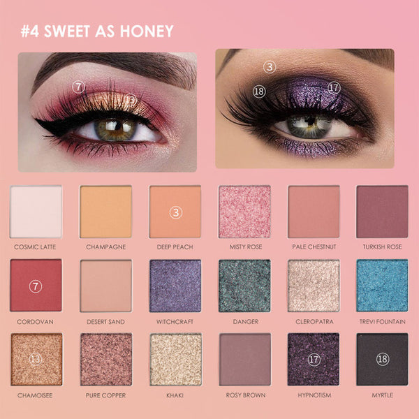 Focallure Brand Eyeshadow Palette 18 Colors Long-lasting Glitter Pigment Waterproof Easy to Wear Eye Shadow Shimmer Make up