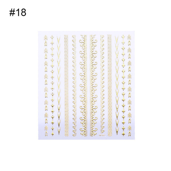 Geometric Gold 3D Nail Sticker Moon Star Patterns Stripes Wave Line Adhesive Sticker DIY Nail Art Decoration