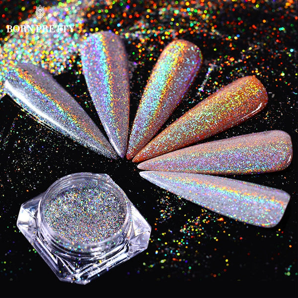 Holographic Colorful Nail Glitter Flakes 0.5g Laser Super Shine Pigment Powder Dust Manicure Nail Art Decoration