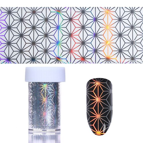 Holographic Laser Nail Foils Irregular Grid Waves 4*100cm Starry Paper Transfer Sticker Manicure Nail Art Decoration
