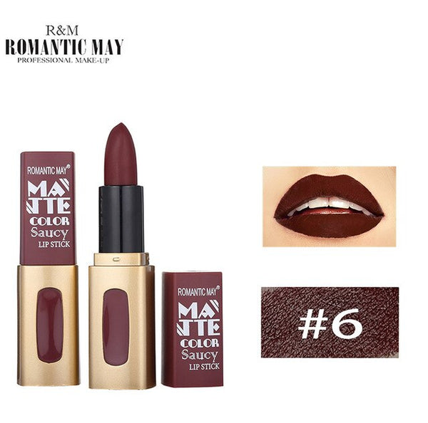 Hot Fashion Lipstick Waterproof Natural Long Lasting Matte Lip Cosmetic Beauty Makeup Gift Lipstick For All Skin Types