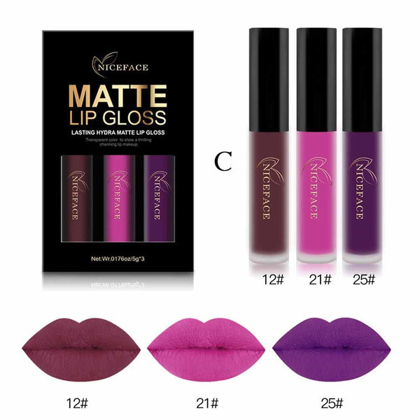 Hot Lip Gloss 3PCS New Fashion Waterproof  Metallic Matte Moisturizing Liquid Lipstick Cosmetic Sexy Lip Gloss Kit New