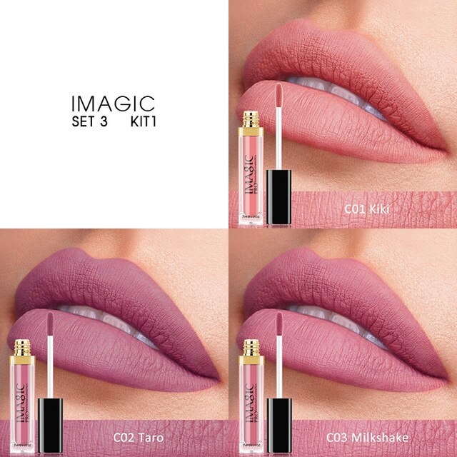 IMAGIC 3PCS Matte Waterproof Lip Balm, Lip Gloss Lasting Matte Bare Lipstick Set