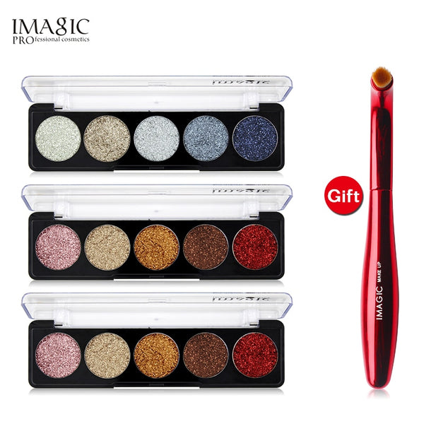 IMAGIC Buy 3 Get 1 Gift 3pcs/set 5 Colors Glitters Eye shadow Get a Eyeshadow  Brush gift