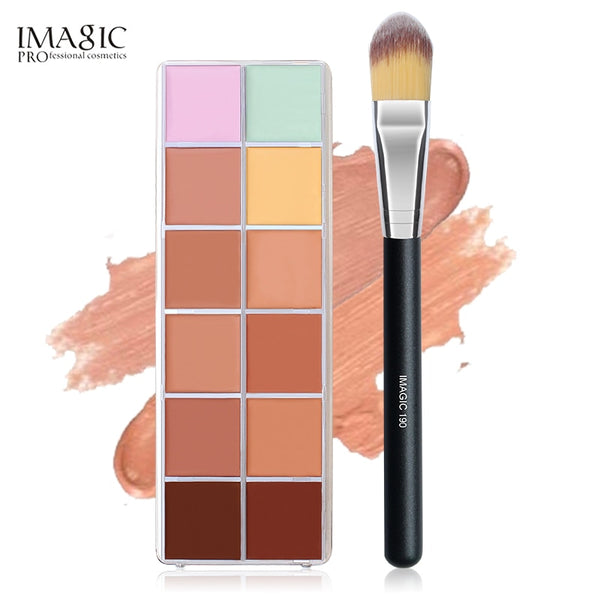 IMAGIC Concealer Palette 12Colors Beauty Contour Makeup Cometic Face Cream Concealer Palette & Brush Make up kit