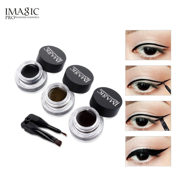 IMAGIC Eyeliner Waterproof Eyeliner Gel Makeup Cosmetic Gel Eye Liner With Brush 24 Hours Long-lasting  Eye Liner Kit