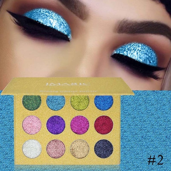 IMAGIC Eyeshadow 12 Colors Palette Glitter Pressed Glitters Eye shadow Diamond Rainbow  Cosmetic Pressed Eye shadow Make Up