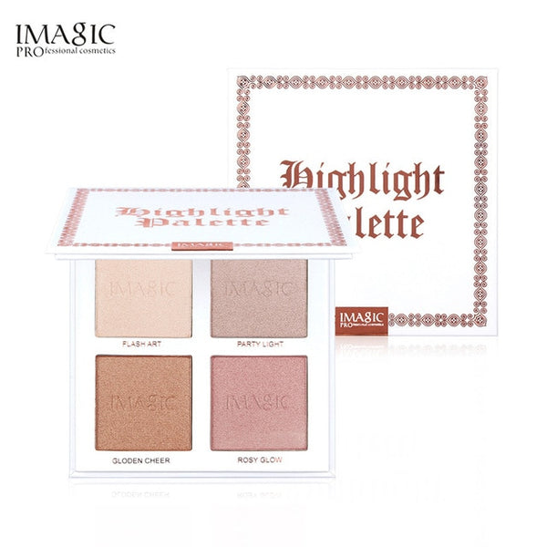 IMAGIC Highlighter Powder Palette Shimmer Face Contouring Highlight Face Bronzer Makeup 4 Colors Highlighter Brighten Skin