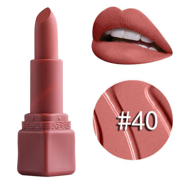 Lipstick Matt Waterproof Long Lasting Lip Glossy Natural Cosmetic Beauty Makeup Lipsticks For All Skin Types