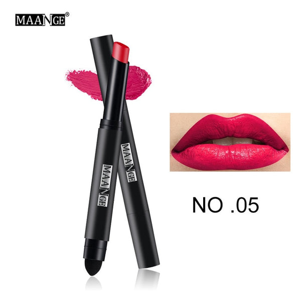 Matte Lipstick Pen Nude Waterproof Lip Stick Makeup Double-end Moisturizer Lipstick Gloss Silky Red Sexy Beauty Cosmetic