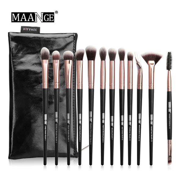HOT Pro 6/12pcs Eye Makeup Brushes Set With Cosmestic Bag Rose Gold Make Up