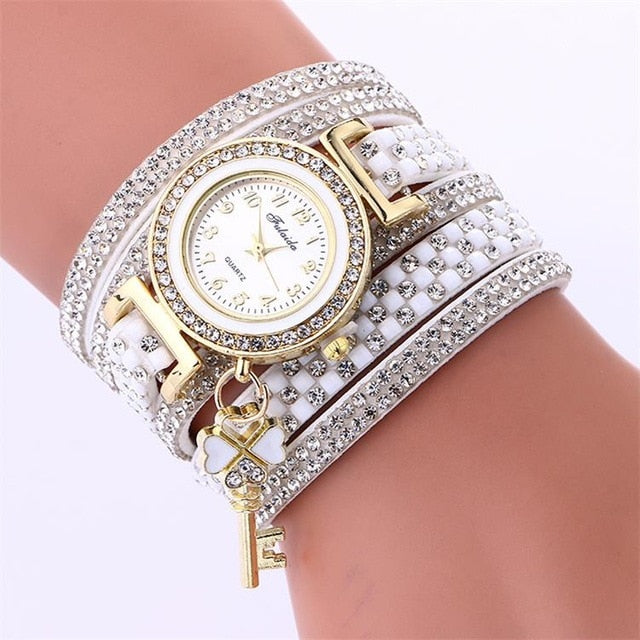 Gold Crystal Rhinestone Bracelet Watch Women