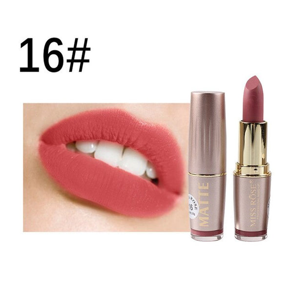 MISS ROSE Lipstick Matte Waterproof Velvet Lip Stick 6 Color Sexy Red Brown Pigments Makeup Matte Lipsticks Beauty Lips