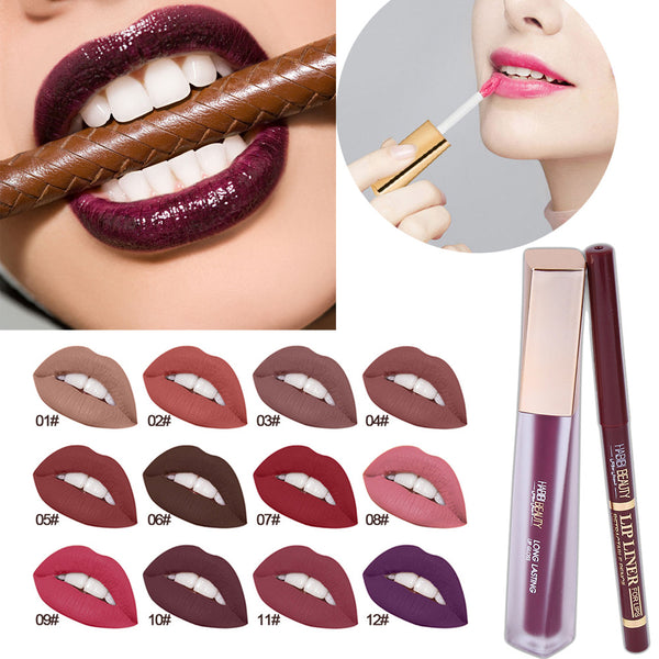 Makeup Long Lasting Lipstick Waterproof Matte Liquid Gloss Lip Liner Moisturizer Cosmetics Set Lip Gloss Lip Liner New