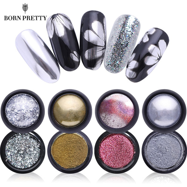 Mirror Holographic Nail Glitter Powder 0.5g Laser Colorful Powder Colorful Manicure Nail Art Chrome Glitter