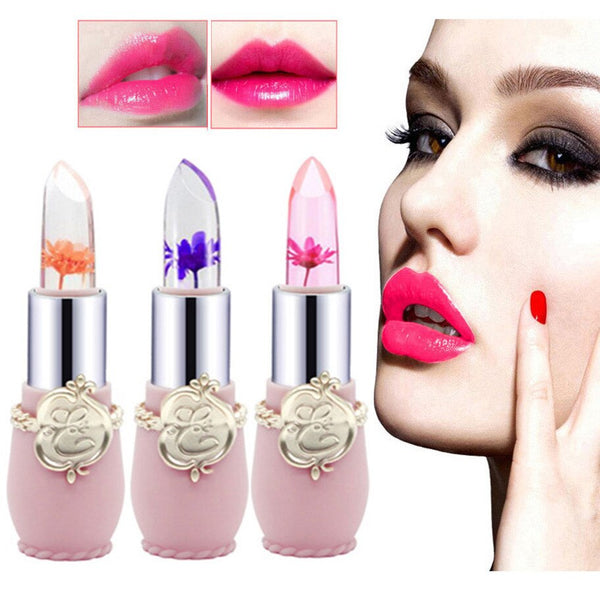 New Beauty Bright Flower Crystal Jelly Lipstick Magic Temperature Change Color Lip Balm Makeup Lip Gloss 6 Colors