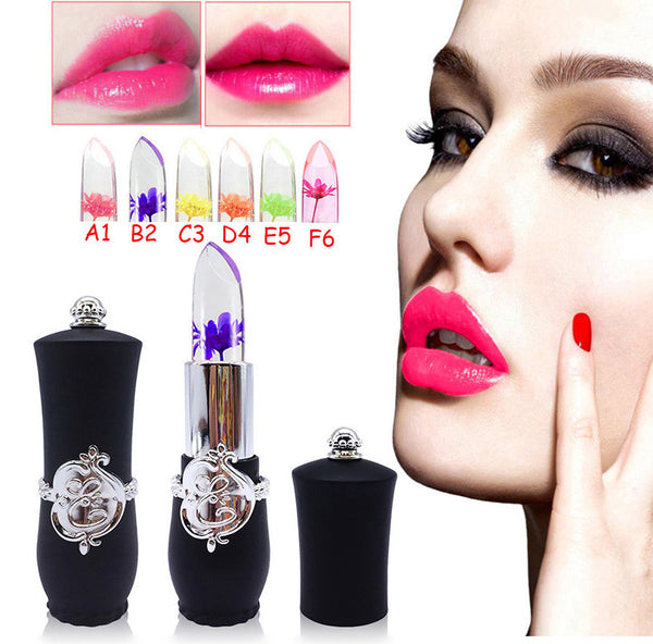 New Beauty Long-lasting Lipstick Bright Flower Crystal Jelly Lipstick Magic Temperature Change Color Lip Balm Makeup